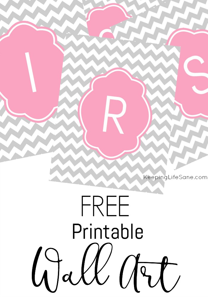 Merveilleux Free Printable Initial Wall Art With Chevron Background