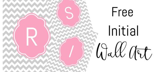 Free Printable Initial Wall Art with Chevron Background