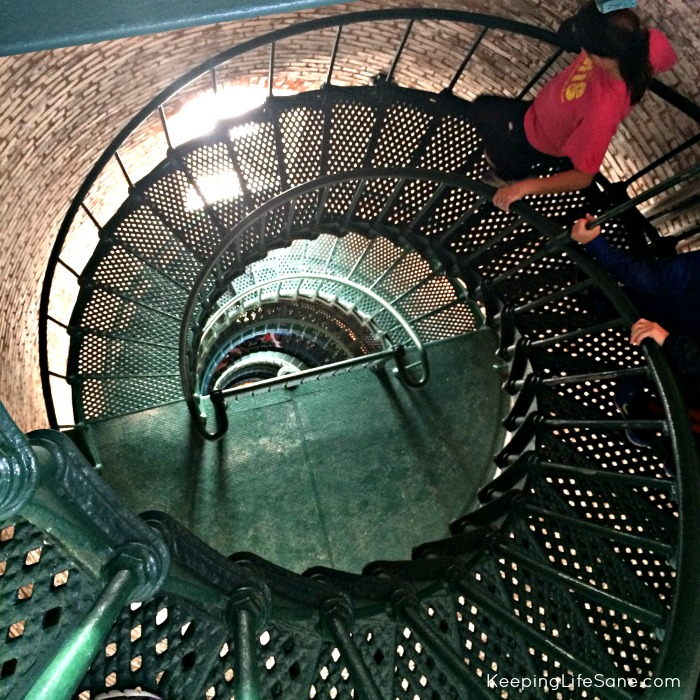 View while climbing up the inside of Currituck Lighthouse.  Looking down the spiral staircase.