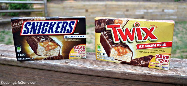 Box of snicker ice cream bars and box of Twix Ice Cream bars