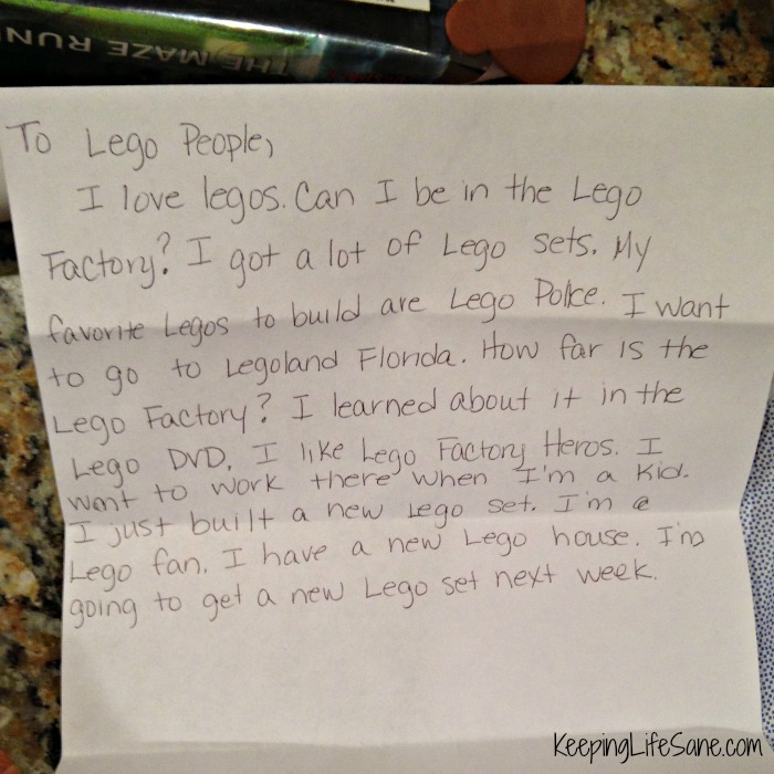 My son wrote to lego and they