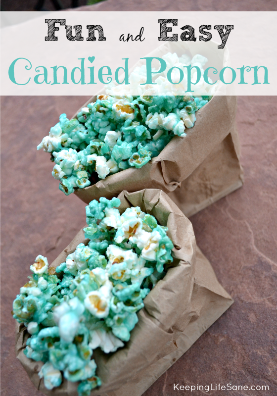 This EASY candied popcorn is perfect for your next sweet treat!  It's great for a party or just a movie night with the kids. #candiedpopcorn #popcorn #popcornrecipe #recipe #partyfood #partyrecipe