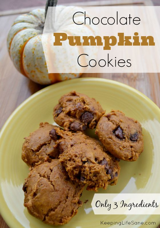 Try these great chocolate pumpkin cookies and with only 3 ingredients, it won't take long at all. #pumpkinspice #pumpkin #pumpkincookies #Eggfreecookies #egglesscookies #eggfreebaking #recipe #pumpkinrecipe #foodallergy #easycookies #Fall #FallBaking