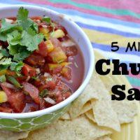 chunky salsa with cilantro garnish on top