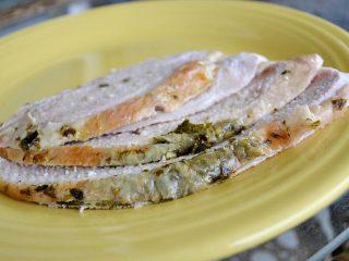 slice turkey breast on yellow plate
