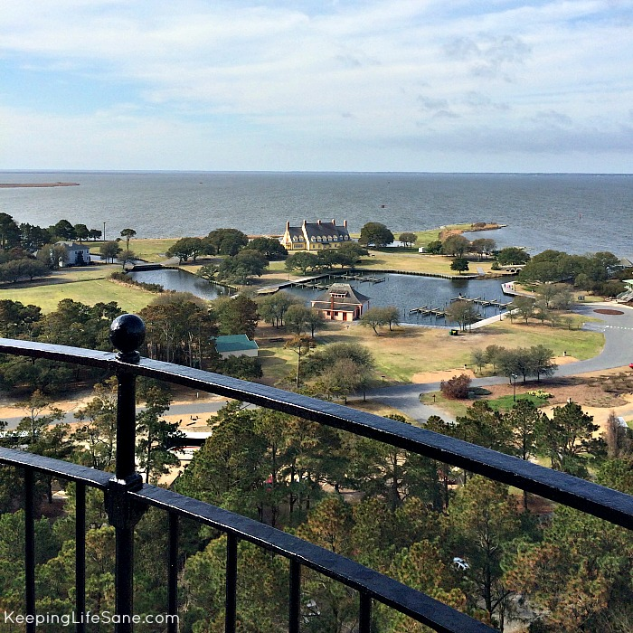 View look out from the top of Currituck Lighthouse- Houses and ocean