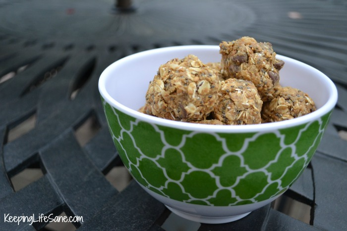 Green bowl with protein balls