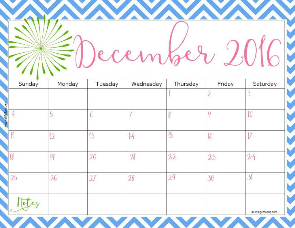 2016 FREE Printable Calendar