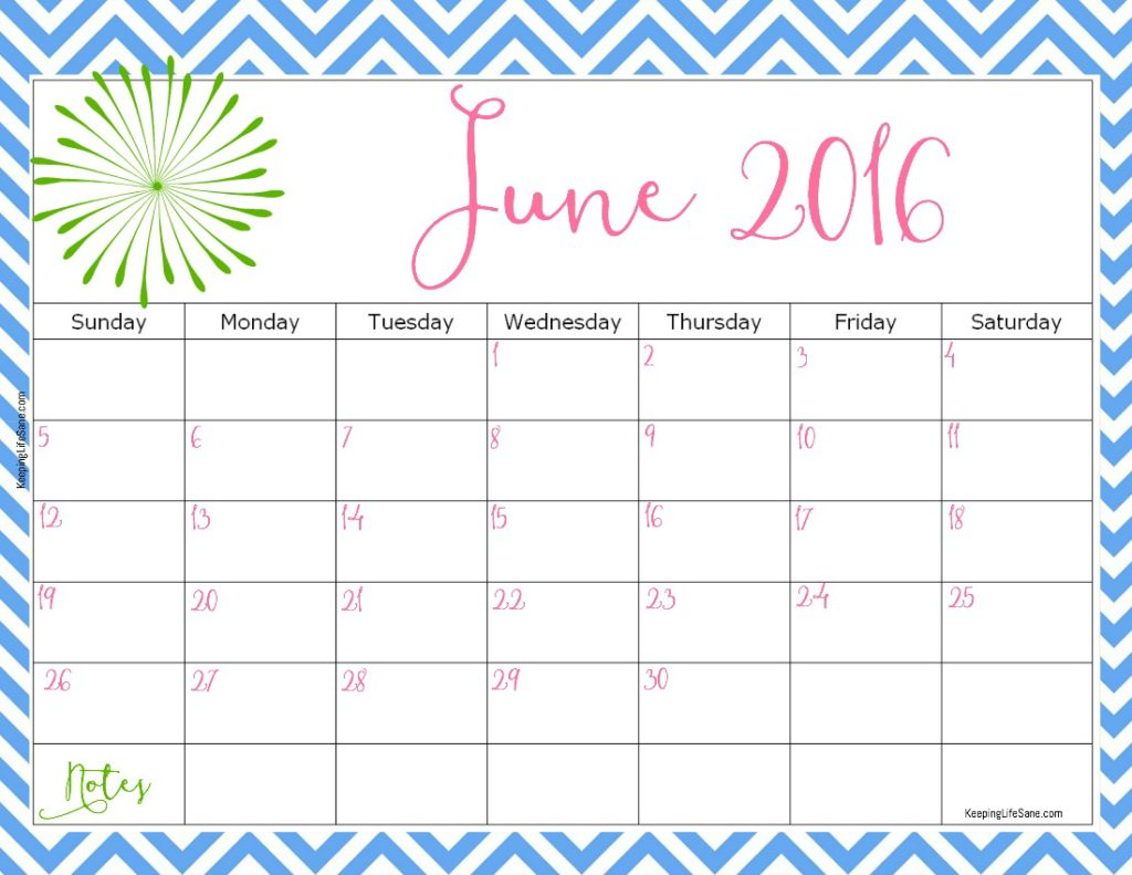 2016 FREE Printable Calendar - Keeping Life Sane