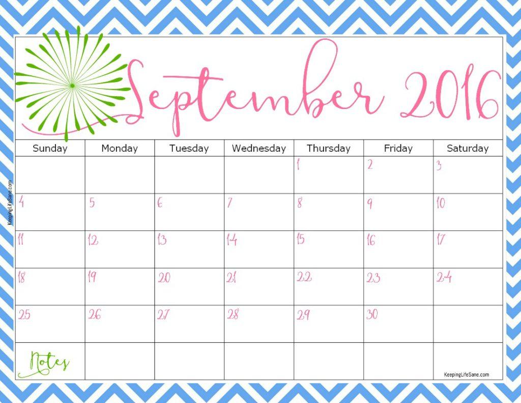 2016 free printable calendar keeping life sane