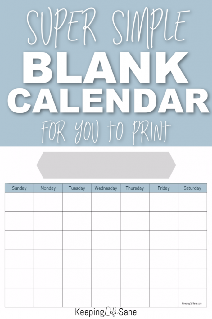 I'm always looking for ways to stay organized and this blank calendar to print for FREE is exactly what I need.  It doesn't use a lot of printer ink either!