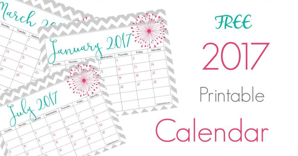 FREE 2018 Calendar to Print - Keeping Life Sane
