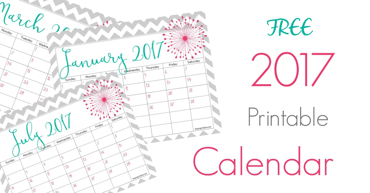 Free  Calendar For You To Print  Keeping Life Sane