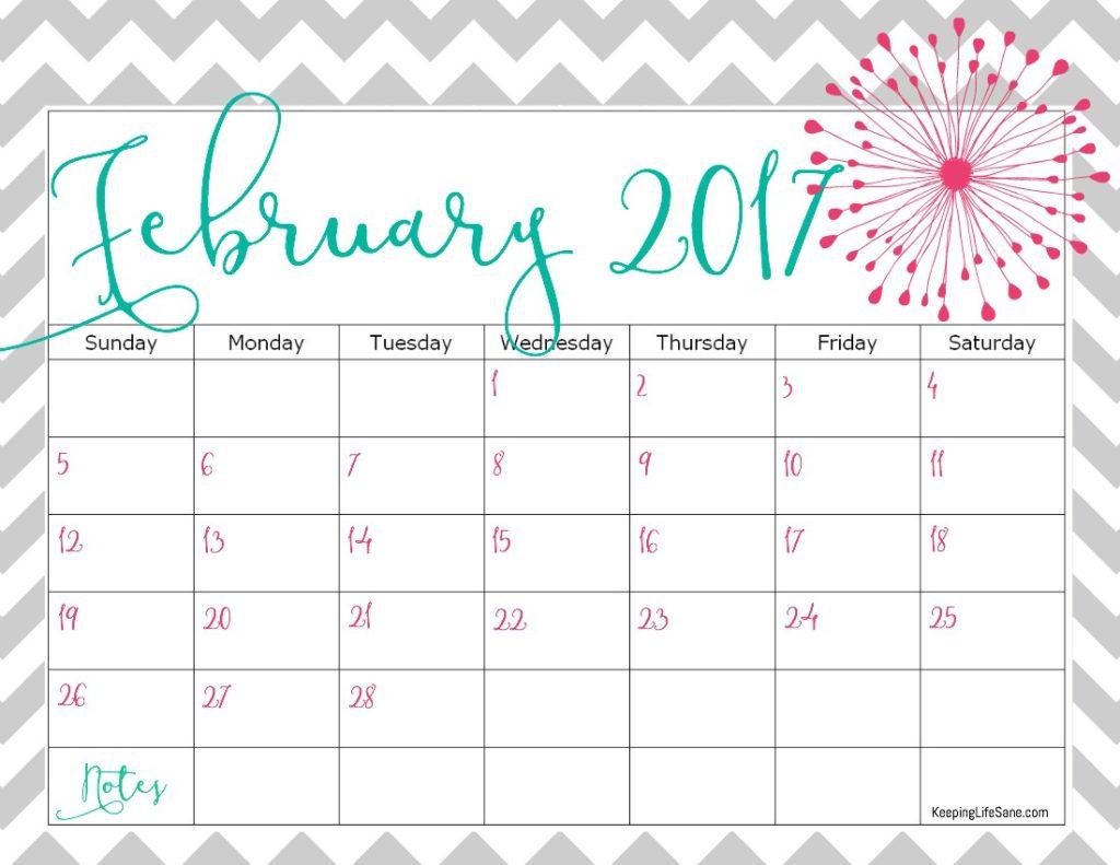 FREE 2017 Calendar for you to print - Keeping Life Sane
