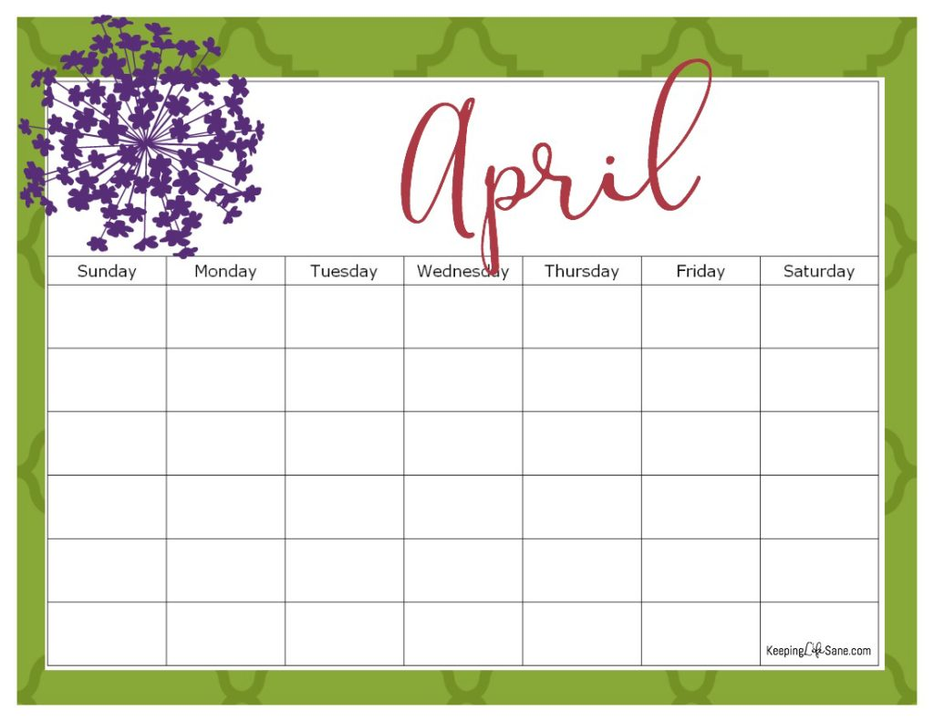 Printable Blank Calendar for FREE
