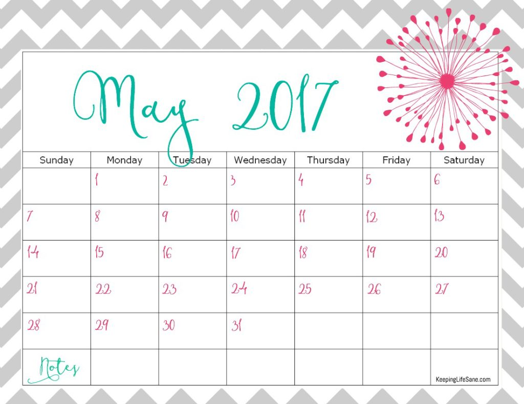 Free 2017 Calendar For You To Print Keeping Life Sane