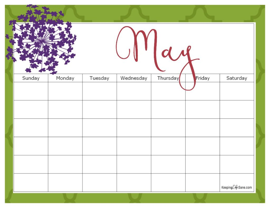 Printable Blank Calendar For Free Keeping Life Sane