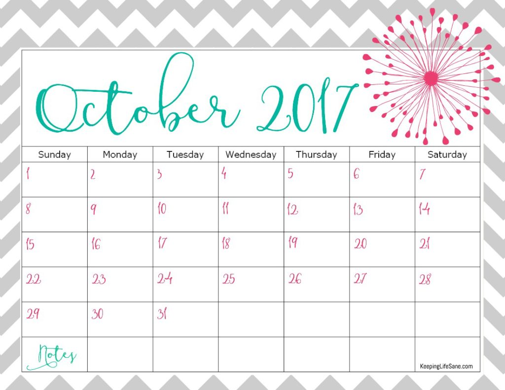 October 2016 Calendar Cute | 2017 calendar with holidays