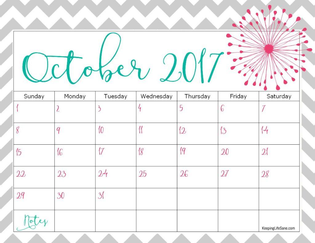 october 2017 printable calendar