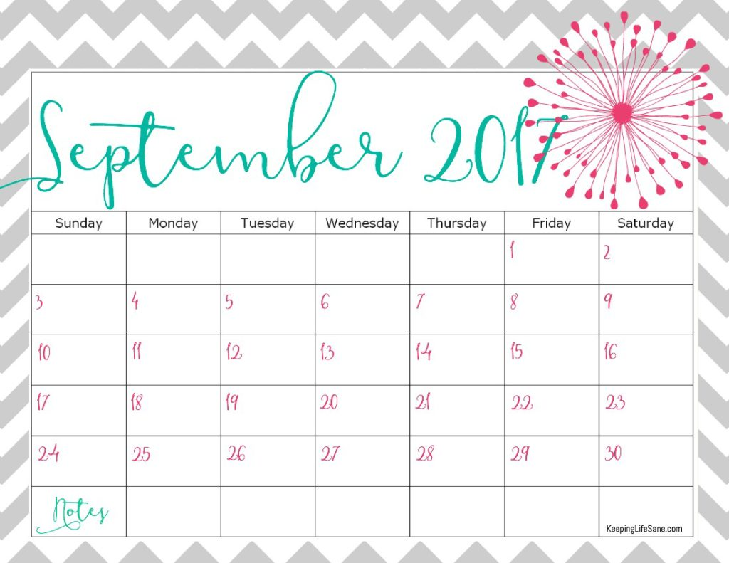FREE 2017 Calendar for you to print - Keeping Life Sane