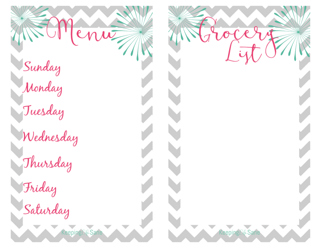 free menu and grocery list printable - keeping life sane