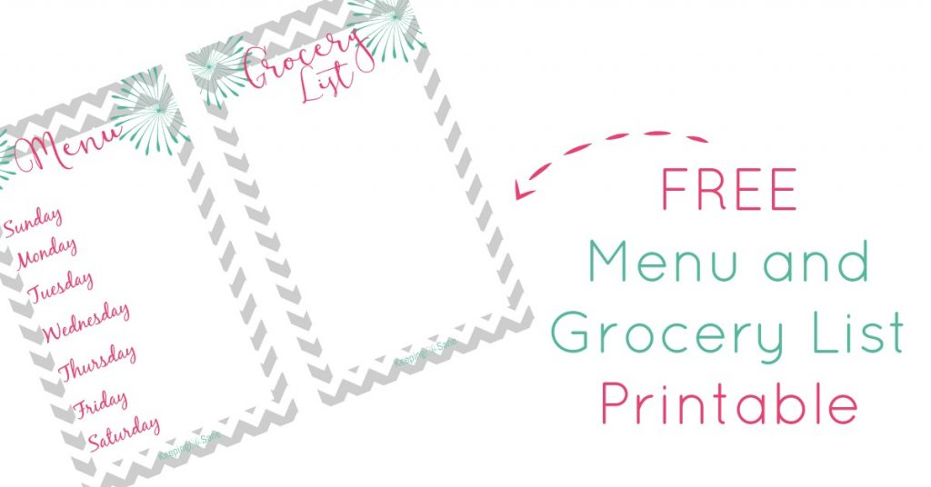 Here's a cute little menu and grocery list printable that you can download to your computer and print out whenever you need it.