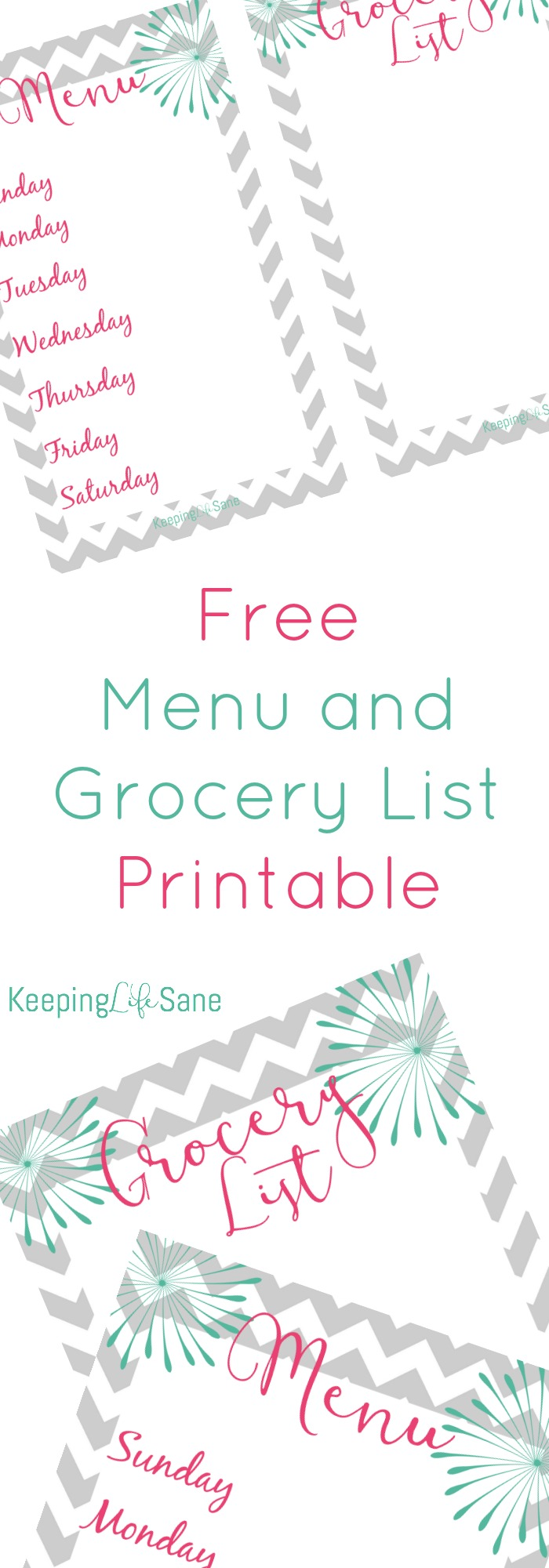 Here's a cute little menu and grocery list printable that you can download to your computer and print out when you need it.