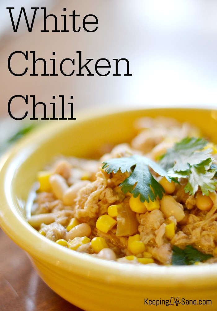 Here's a great White Chicken Chili that is so delicious on a cold day. Put it in your crockpot for a warm meal when you get home.
