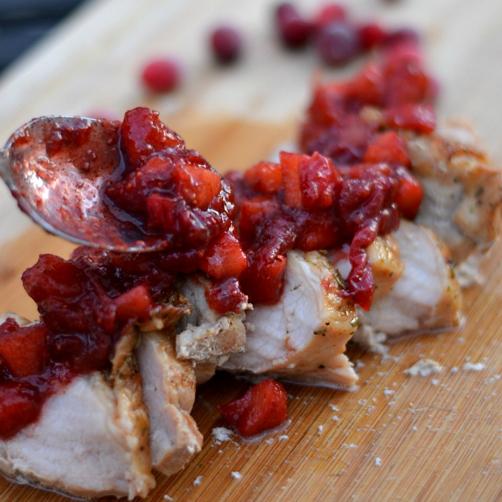 Here's a fantastic everyday dinner of pork with cranberry and apple salad.  You can't beat this great taste in under 30 minutes.