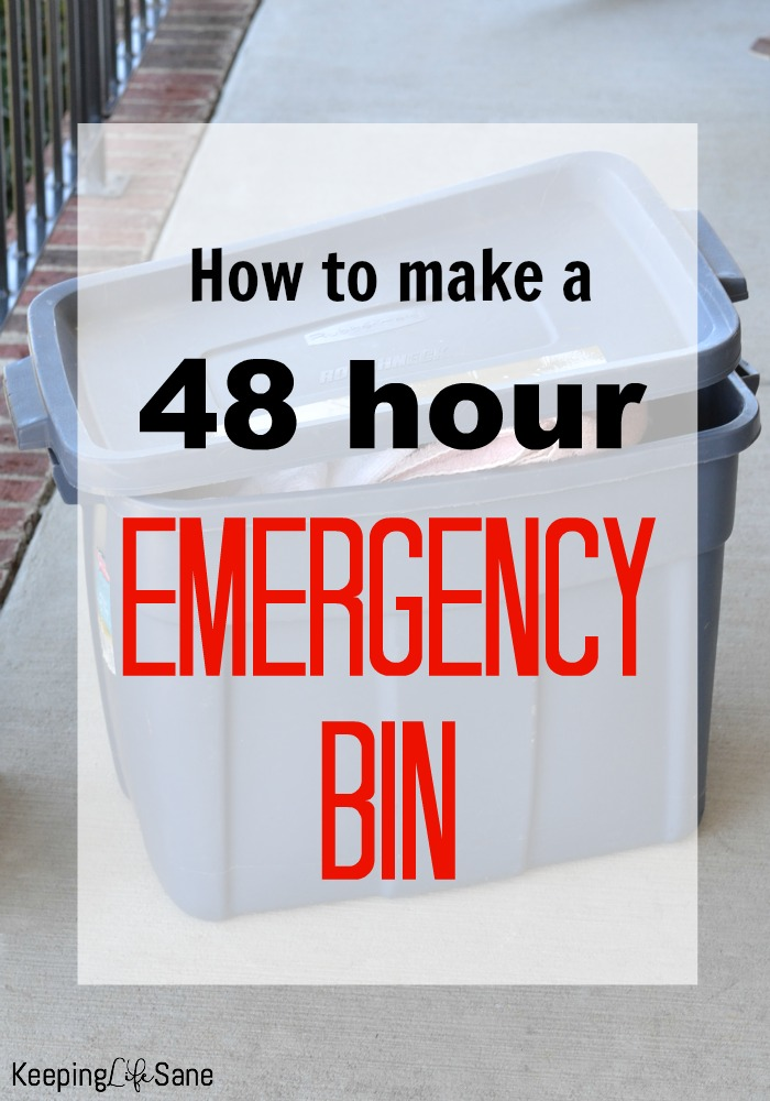 Here's a quick guide on how to make a 48 hour emergency bin in case you have to leave your house quickly because of a natural disaster.