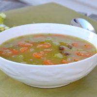 pea soup in white bowl
