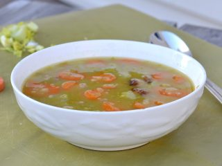 pea soup in white bowl