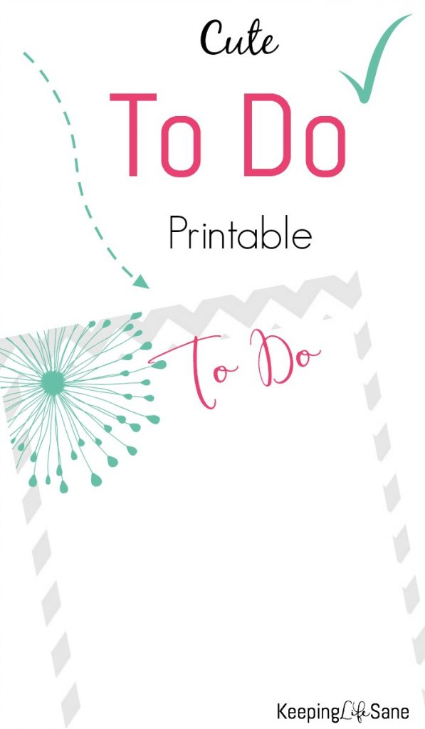 Do you keep your to-do list on a torn up piece of scrap paper? Print out this cute To Do list and throw away those ugly sheets.
