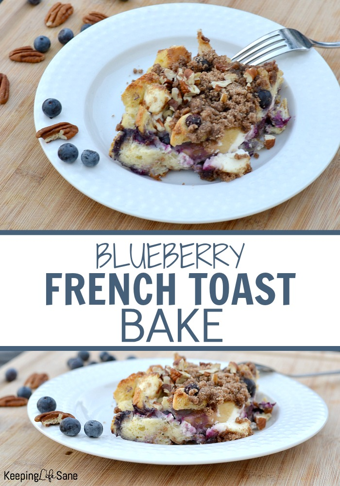 white bowl on cutting board with french toast casserole with blueberries