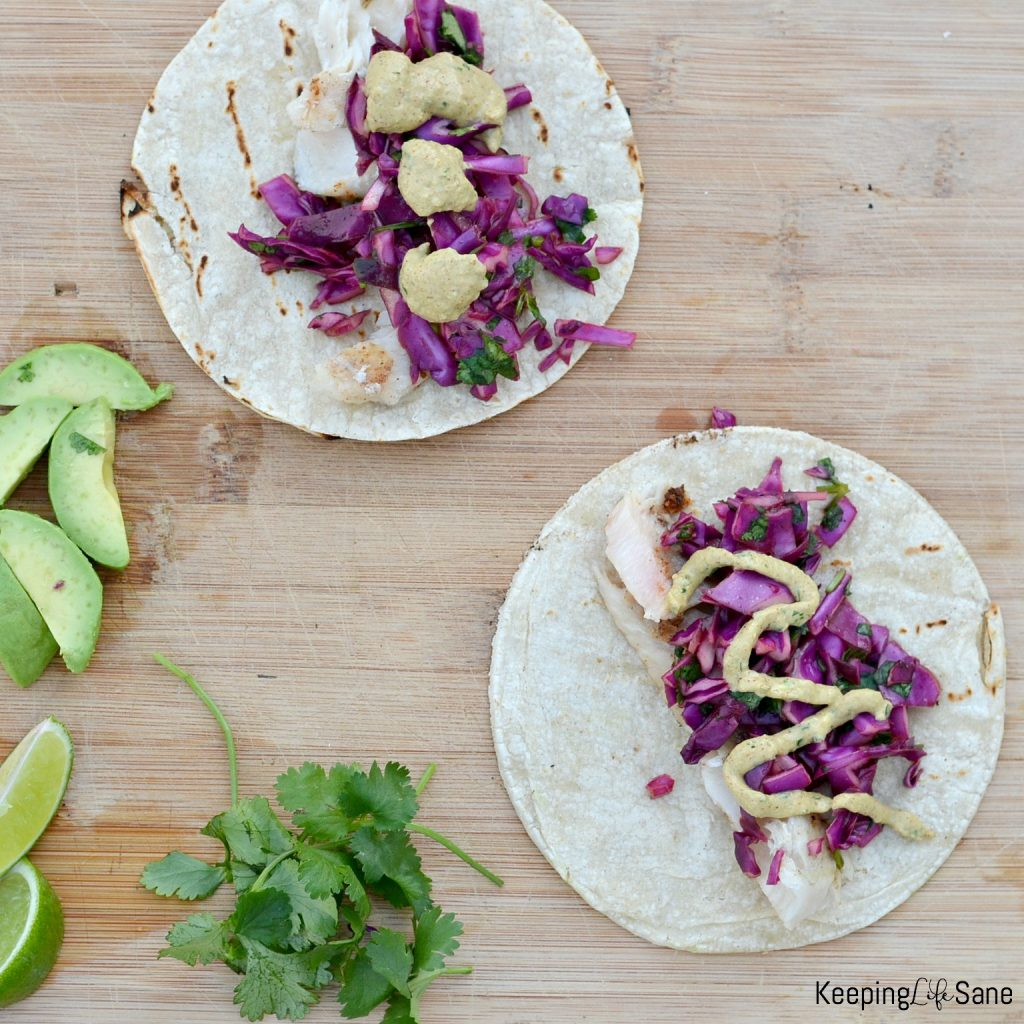 I love the sweet cabbage slaw on these grilled fish tacos. This is a great family dinner that take under 30 minutes to prepare.
