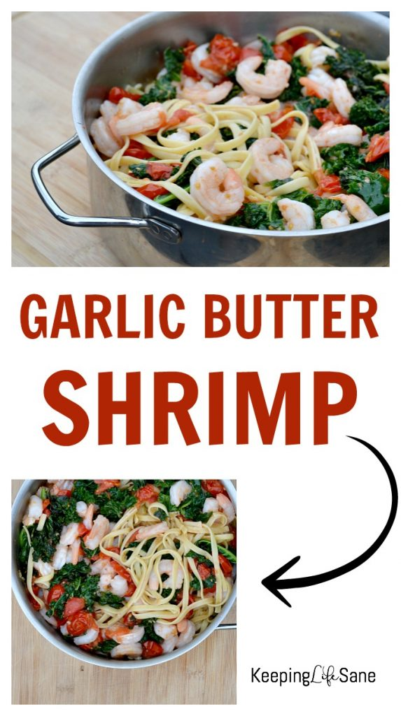 Here's a quick meal that your family will love. Garlic butter shrimp with tomatoes and kale is so yummy. Your family will be asking for seconds.