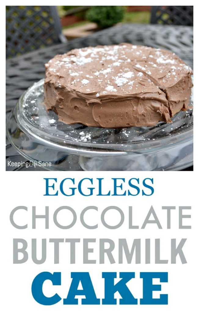 Here's a delicious and moist double layer CHOCOLATE BUTTERMILK CAKE. Perfect for any birthday or special occasion. The best part- NO EGGS!