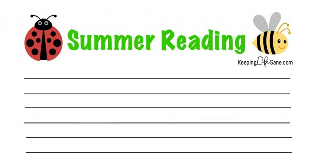Summer Reading Log Free Printable Keeping Life Sane