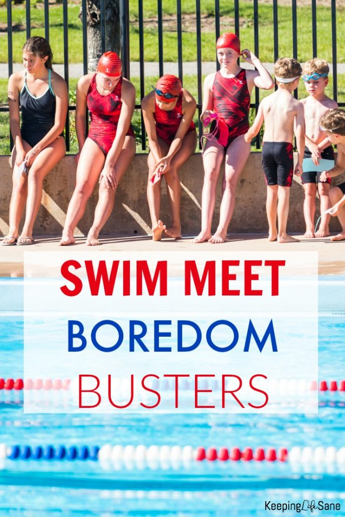 Get these swim meet boredom busters. Parents are bored and so are the swimmers, not to mention siblings that have to sit all day.