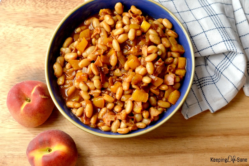 I'm always looking for a good side dish in the summer to take to potlucks. These peach baked beans are delicious and go great with ribs!