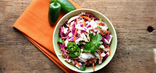 This tex mex coleslaw is perfect for any potluck or cookout. It's easy to throw together and tastes even better the next day.