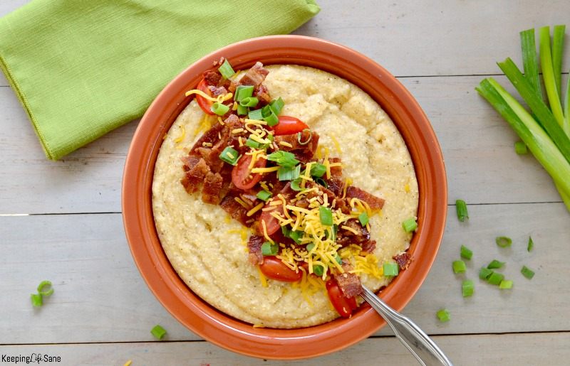 These slow cooker loaded cheese grits are the best side for any dinner and the recipe is super simple! Not a lot of work for a something so flavorful.