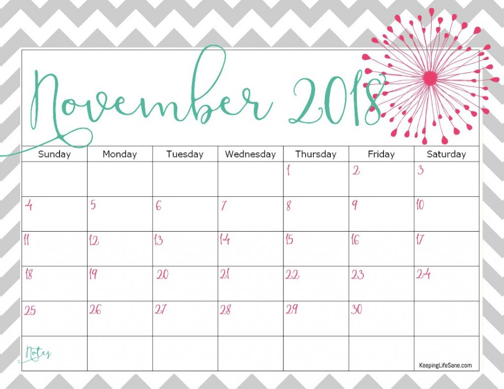 Free 2018 Calendar To Print Keeping Life Sane