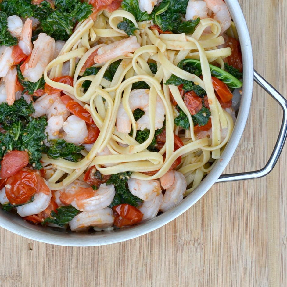 Here's a quick meal that your family will love. Garlic butter shrimp with tomatoes and kale is so good that your family will be asking for seconds.