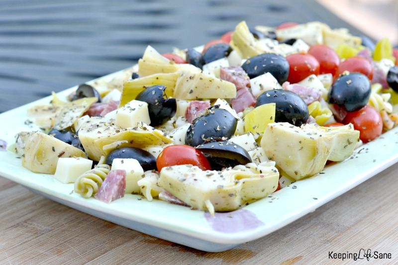 Pasta salad is a great dish to have in the refrigerator over the summer. This antipasto salad is a family favorite and perfect for lunch or dinner.