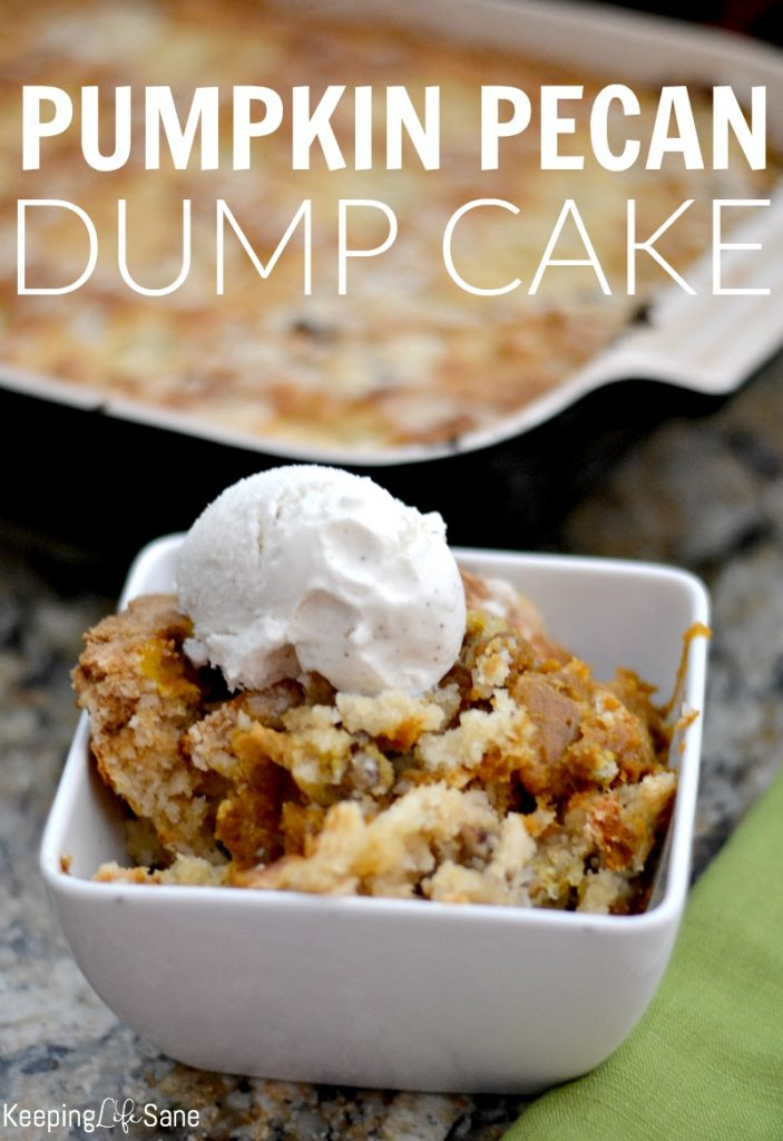Don't you love easy desserts? Well, this pumpkin pecan dump cake is the easiest around and perfect for fall, just add a scoop of ice cream.
