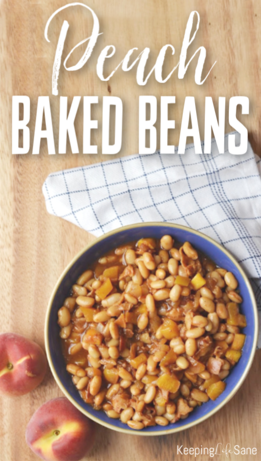 I'm always looking for a good side dish in the summer to take to potlucks. These peach baked beans are delicious and go great with ribs! #BakedBeans #Beans #PeachBakedBeans #BakedBeanRecipe #Cookout #CookoutFood #peaches