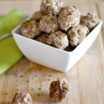square white bowl with meatballs piled high
