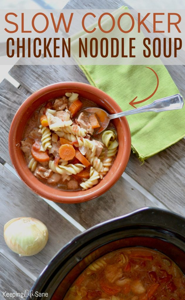 This EASY slow cooker chicken noodle soup is the perfect comfort food in the cold winter months or when you're feeling sick.