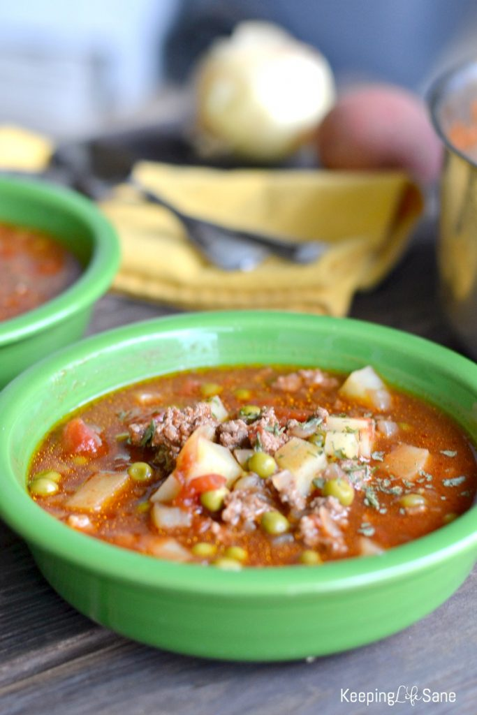 Who doesn't love soup on a cold winter day? This hamburger tomato soup is fantastic and so easy. Cook it on the stove top or slow cooker.
